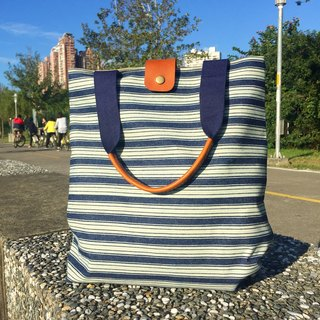 88Tailors full handmade denim leather handle tote bag