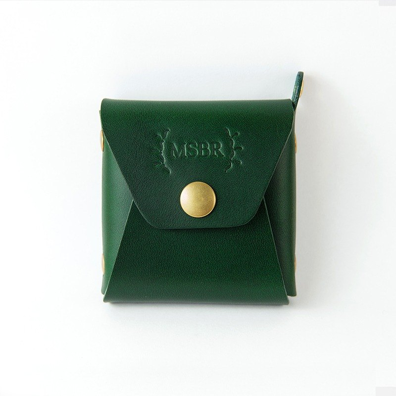 Leather mini purse, Coin Case, Small leather pouch (Green)
