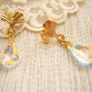 [Jolie baby] Los leaf - Ginkgo leaf Baroque Crystal Earrings