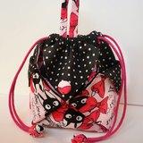 粉紅蝴蝶結黑貓咪 小圓點 造型小圓包 圓桶包 手提包 阿信包 造型束口袋