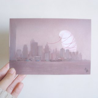 White free bird illustration card postcard