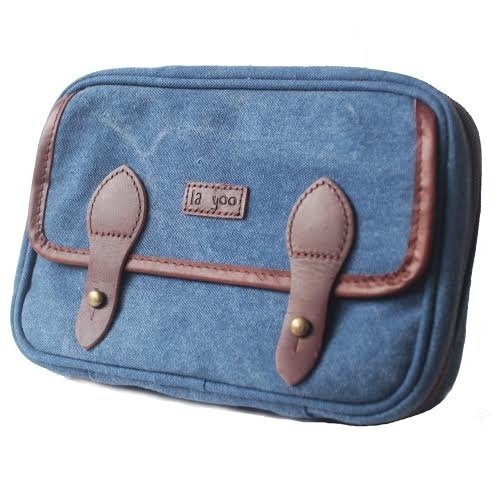 Big Travel (Denim Blue) - Leather Canvas Crossbody Passport Case Cover