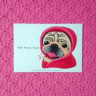 Postcard-PUG Phone Home
