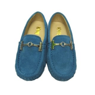 Fort Tony Wang handmade leather shoes (kids) [metal buckle / Matte / soled / sky blue]
