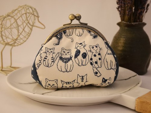 Blue cat feel gold coin purse