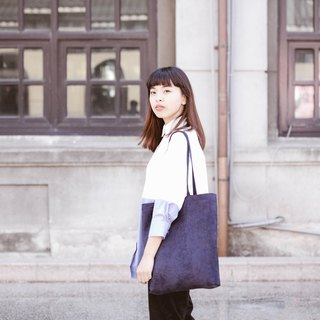 European and American minimalist suede shoulder bag dark blue dark blue ::: :::