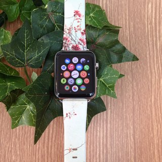 Apple Watch Series 1 , Series 2 & Series 3 - 櫻花花卉圖案 Apple Watch 真皮手錶帶38 / 42mm ,100%香港設計及製作 - 24