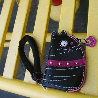 Cat lady phone leather hand-sewn 140307