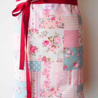 British style - Floral half aprons (red)