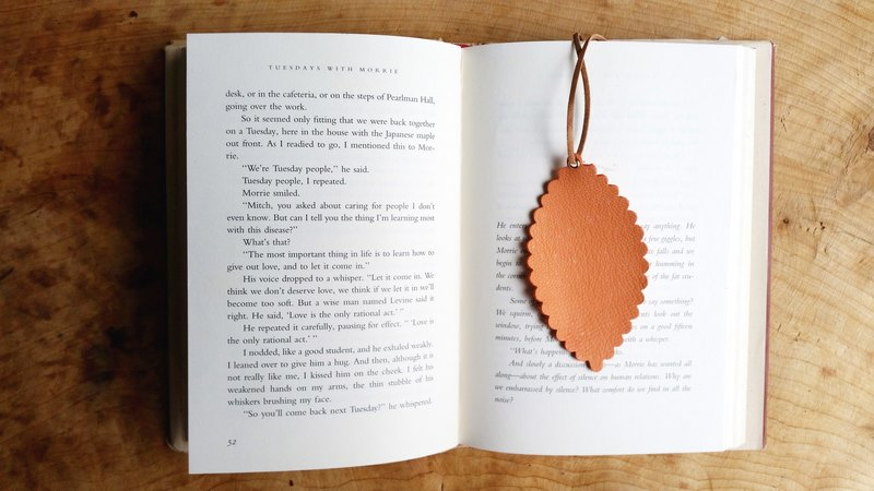 Leather leather - travelers bookmarks / Charm / card (pink orange sheepskin) - Free custom English name / Sentence typewriting service