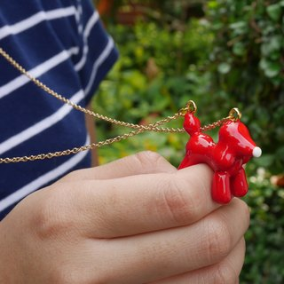 Glorikami Red Balloon Dog Necklace