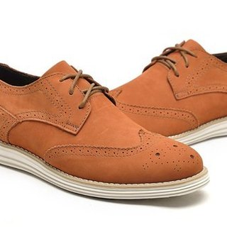 Functional lightweight cushioning comfort breathable leather Oxford shoes WINGTIPS orange