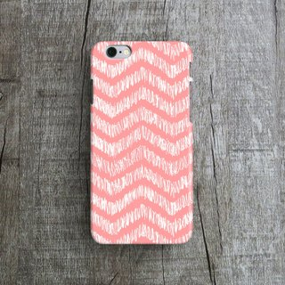 Coral Pink, Handdrawn Zigzag- Designer iPhone Case. Pattern iPhone Case.