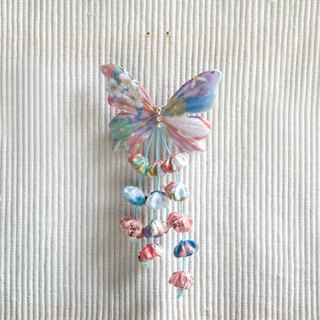Sakura, butterfly tassel, small side clip, brooch, bangs clip, dual-use model small things - blue