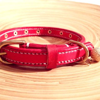 [Handsome] double collar handmade leather hand-stitched leather thick collar S