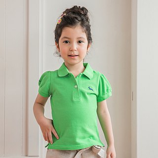 Princess sleeve cotton mesh Polo Shirt classic green