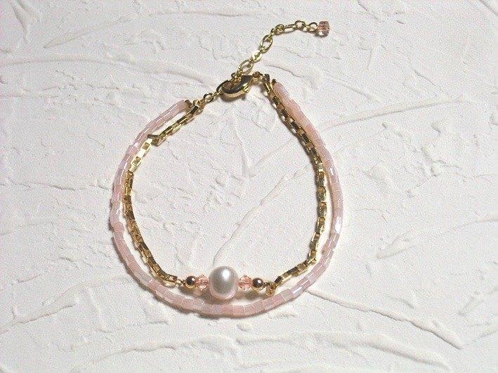 粉柔晶亮珍珠雙層手鍊