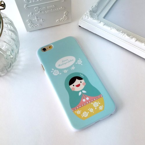 Luxury Cyan Rose Matryoshka Print Soft / Hard Case for iPhone X,  iPhone 8,  iPhone 8 Plus, iPhone 7 case, iPhone 7 Plus case, iPhone 6/6S, iPhone 6/6S Plus, Samsung Galaxy Note 7 case, Note 5 case, S7 Edge case, S7 case