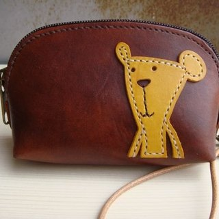 ISSIS - Leather Hand Sewn Beanie Bear Carrying Coin Purse