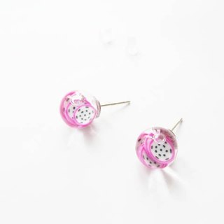 *Rosy Garden*Dragon fruit water inside glass ball stud earrings