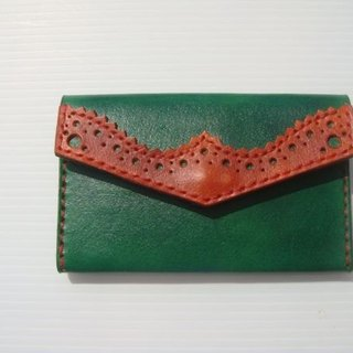 ISSIS - Leather Hand Sewn Classical Oxford Carved Business Card Holder -- Green Brown