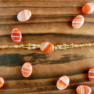 [Na UNA- excellent hand-made] Fruit Candy Series - Striped natural stone brass bracelet agate ▲ ▲ customization