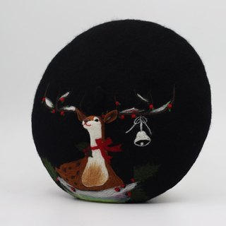 Christmas gift original handmade wool felt beret painter cap needle felting perspective deer - black