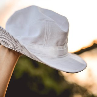 White adventure hat - little stripe FLIPPABLE