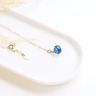 Natural Diamond Shiny Face London Blue Topaz 14K GF Necklace 925 Sterling Silver Clear Sea Blue