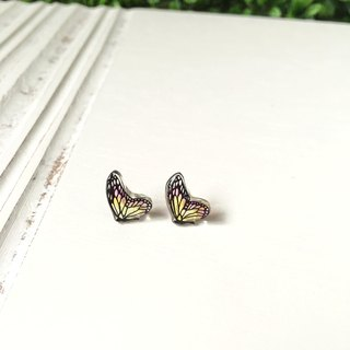 * Haku‧Neko * Hand-painted pink x yellow black pattern butterfly earrings