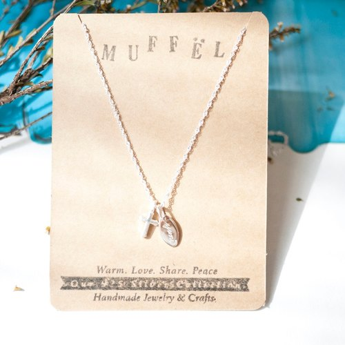 MUFFëL 925 Silver Silver Cross Customized Necklace (with lettering service)