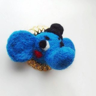 Mew in Wonderland ─ gentleman wool felt hat blue elephant brooch