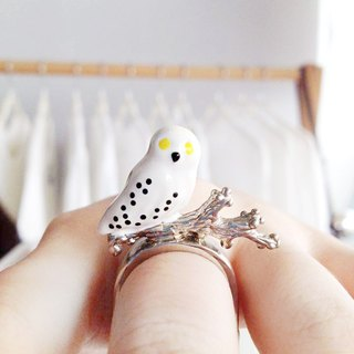 Snowy Owl Ring, Owl Ring, White Owl Ring