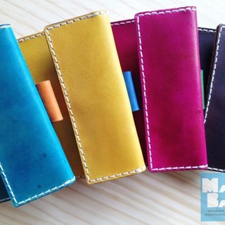 Cards Broadwood series - handcrafted leather walking package (main color: blue Venice secondary colors: mustard yellow orange)