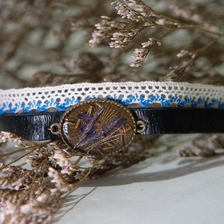 Purple Grass x Dandelion Seed - Lace Leather Choker