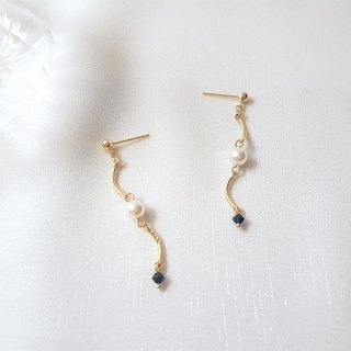Venus tear ‧ pearl crystal earrings (four colors)