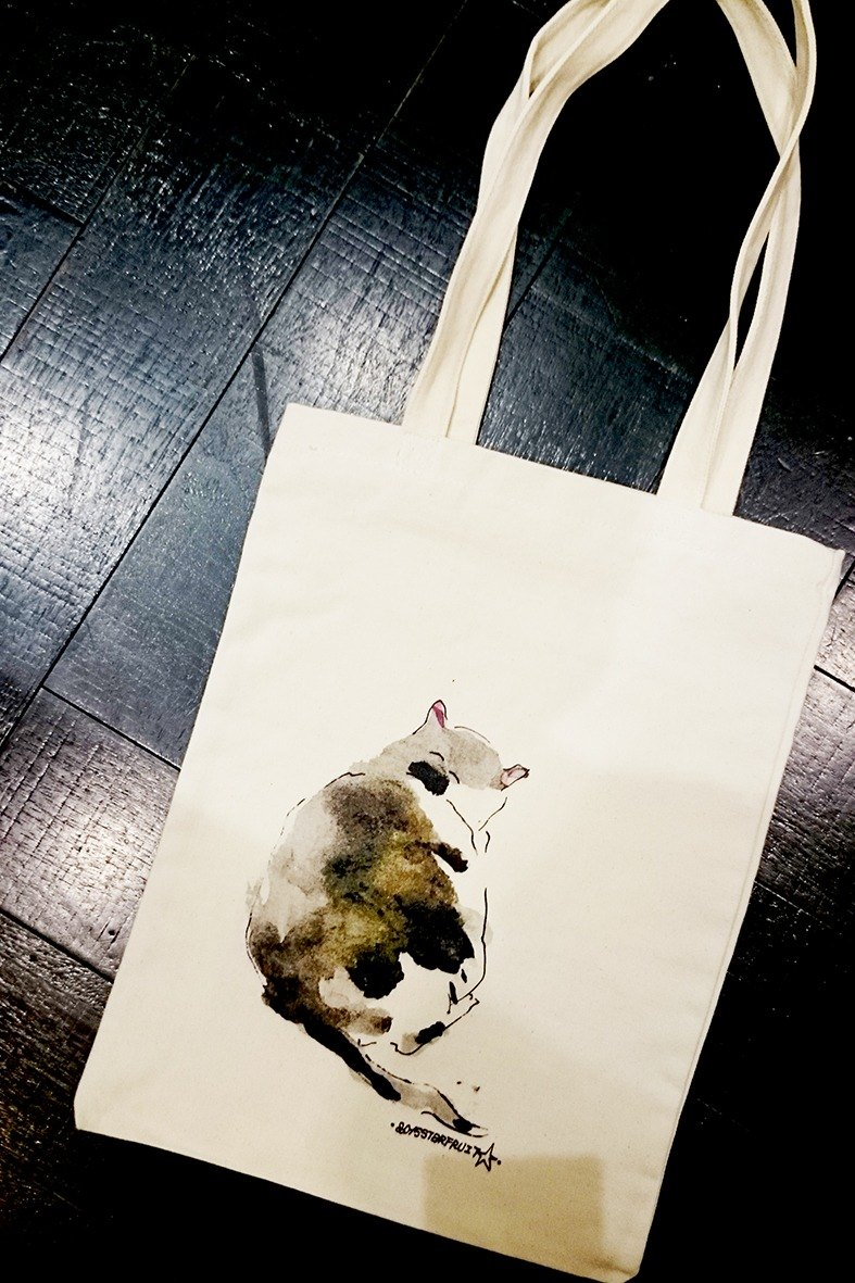 Cat and dog and owl with shopping bags -02- handsome cat back