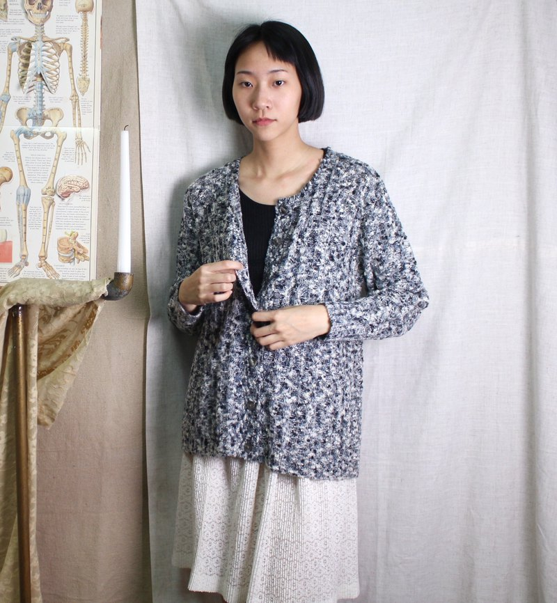 FOAK Vintage Marble Grey Snow Sweater Coat