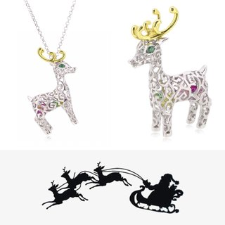 "HK052 ~ 925 silver Christmas deer modeling pendant (large) with 24 ""silver necklace"