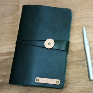 7 inch leather notepad - dark green (custom printing standard)