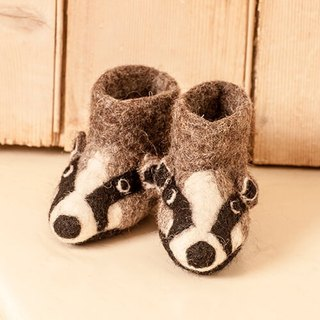 Warm indoor shoes / births ceremony ► British sew heart felt small goat grazing felt shoes (baby shoes / births ceremony) - Billy Badger