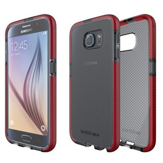 UK Tech 21 Impact Evo Check Samsung S6 super soft crash Plaid Case - transparent black and red (5055517344418)
