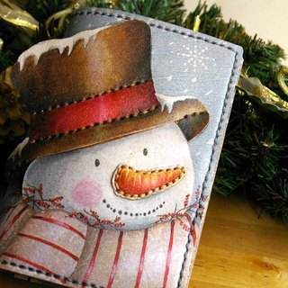 Hansha snowman - handmade leather passport cover