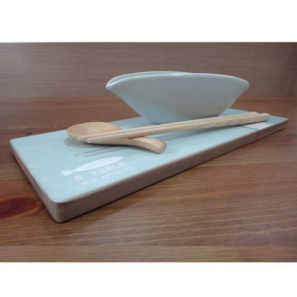 WOODEN TRAY-FISH-S