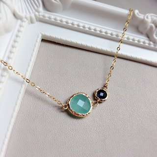 """KeepitPetite"" Elegant gilt edging · · gold-plated glass imitation gemstones Necklace sky blue mint green x (40cm / 16 inches)"