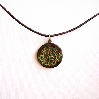 Handmade multi-storey wooden carving pendant necklace