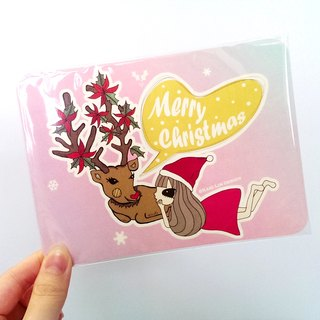 Small B cut pink tie Christmas cards (large)