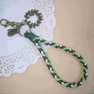 ~ M + Bear ~ vintage braided wire braided wax keychain key ring (green)