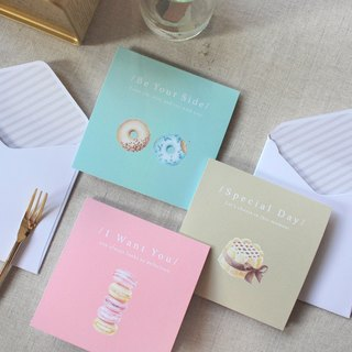 [Valentine Series] Macaron / cake / donut illustration three cards Group