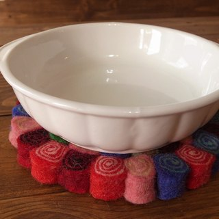 Potholder, Trivet, Pan Coaster, Pot holder, Felt ball Trivet Round 20cm Flower